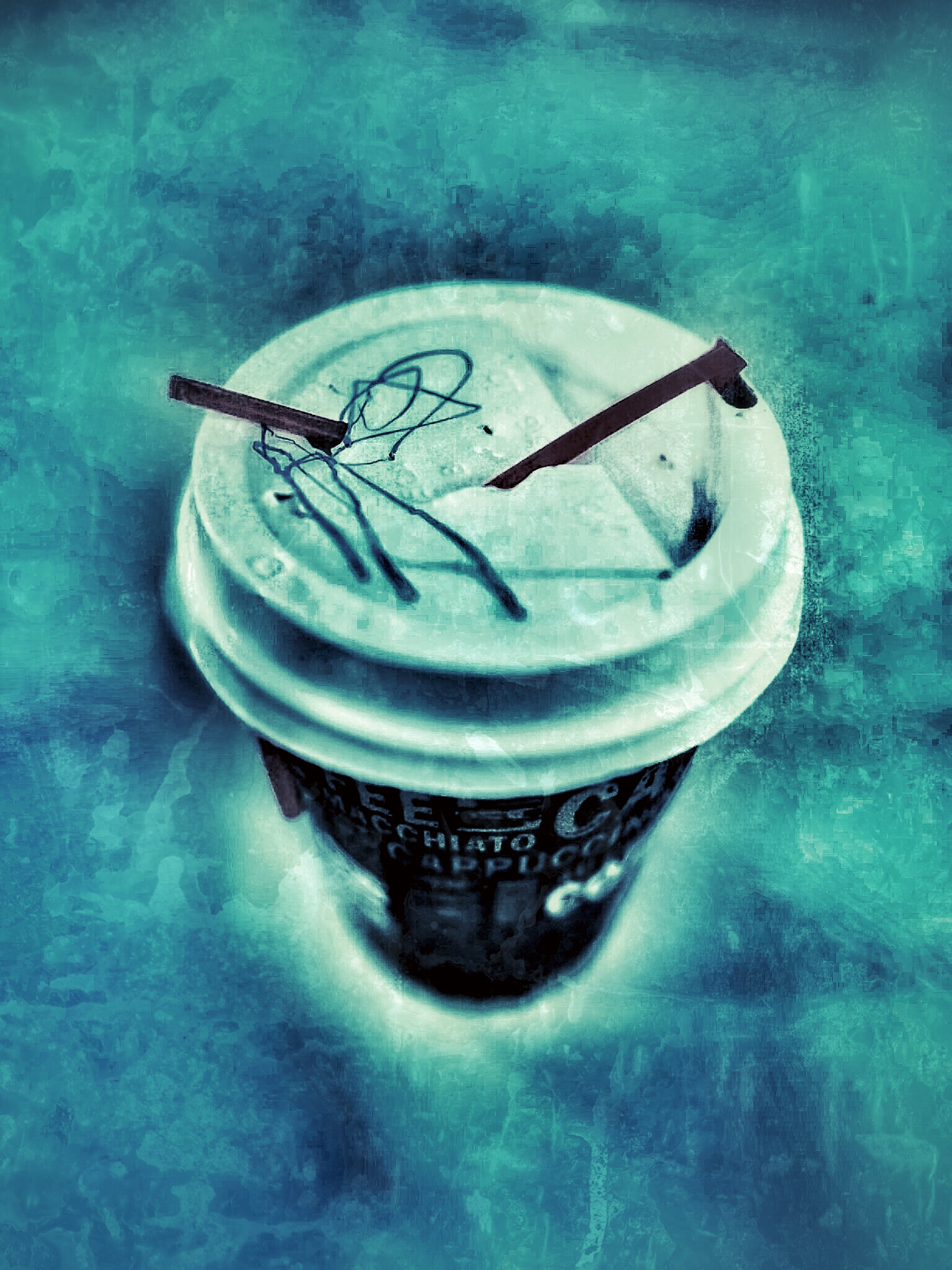 Artistic image of a paper coffee cup with markings on the top. A plastic straw pierces through the cap.